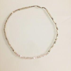 Beautiful handmade silver blush pink necklace